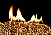 Wood pellets on fire