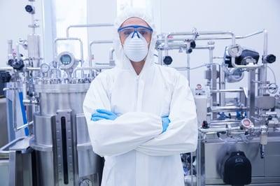 Scientist in safety gear