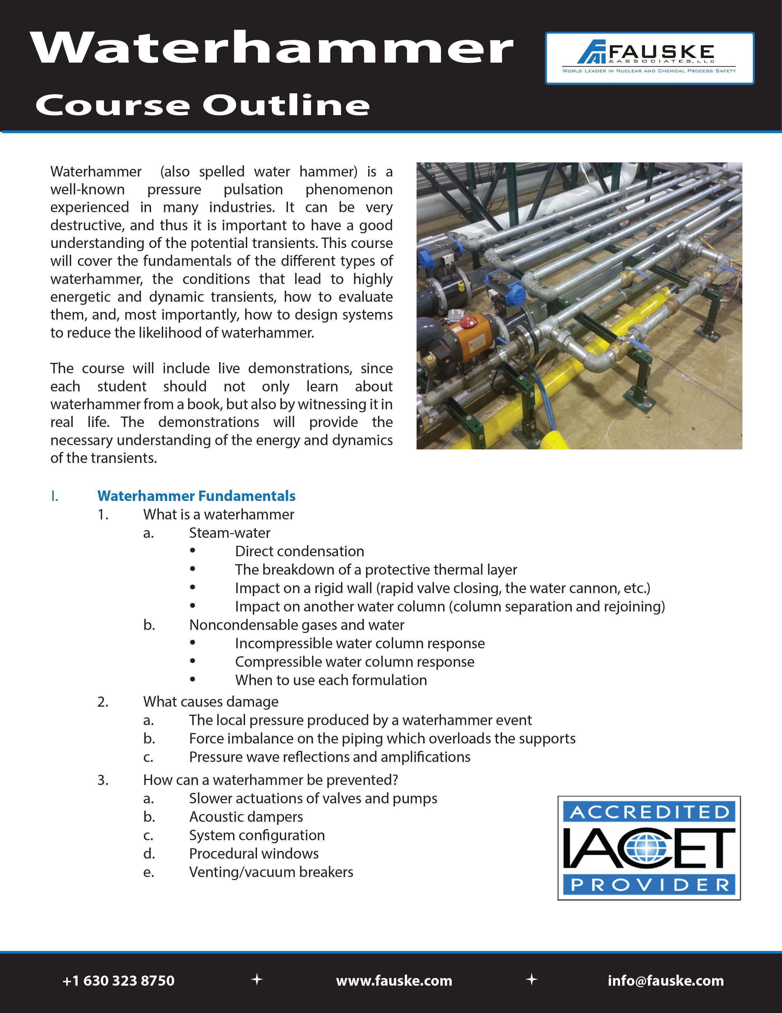 FAI Waterhammer Course Description