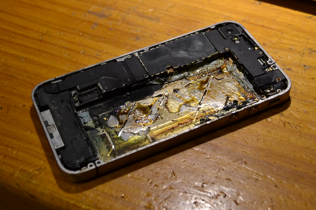 Burned iphone from battery fire