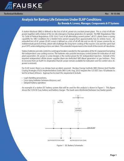 Analysis for Battery Life Extension Under ELAP Conditions - Technical Bulletin
