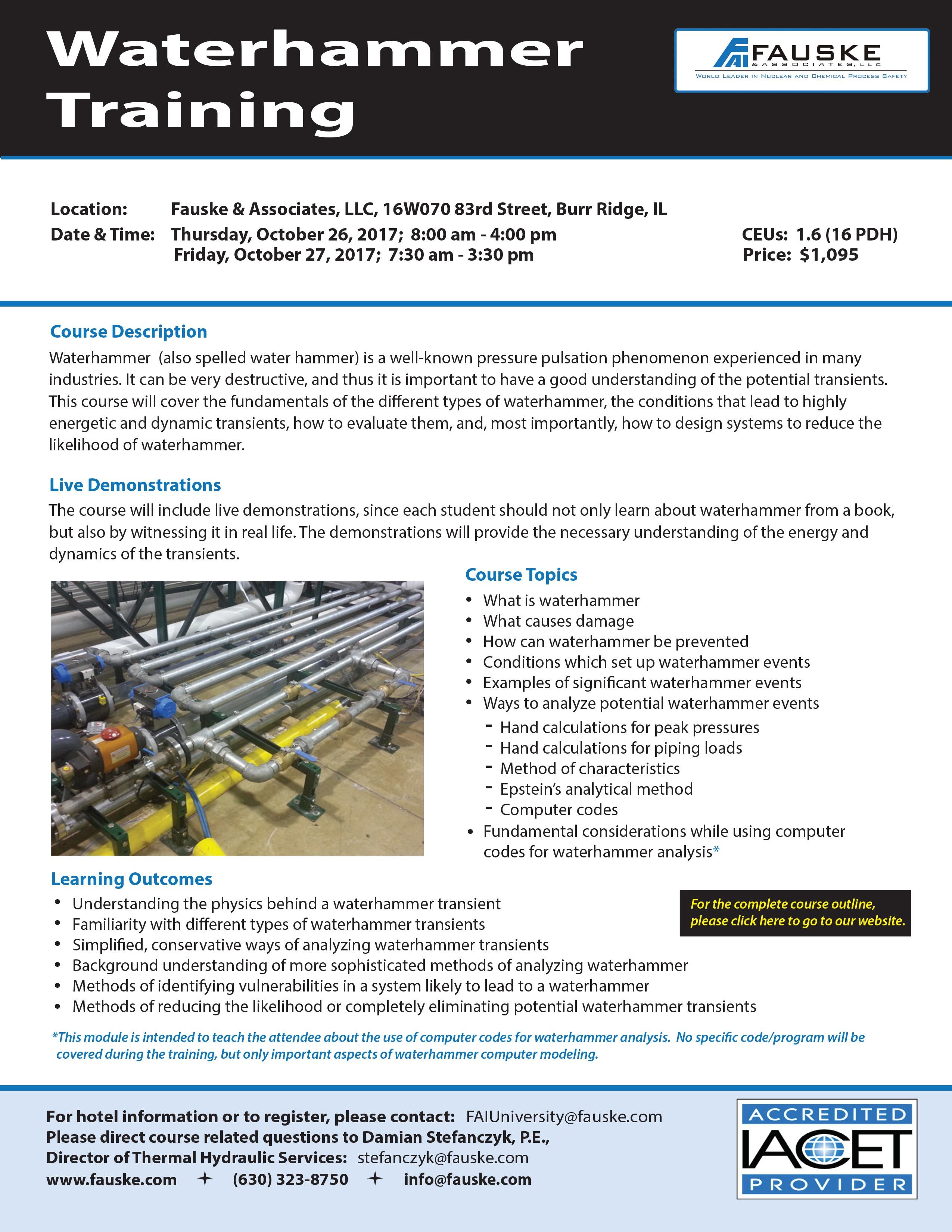Waterhammer Training Course